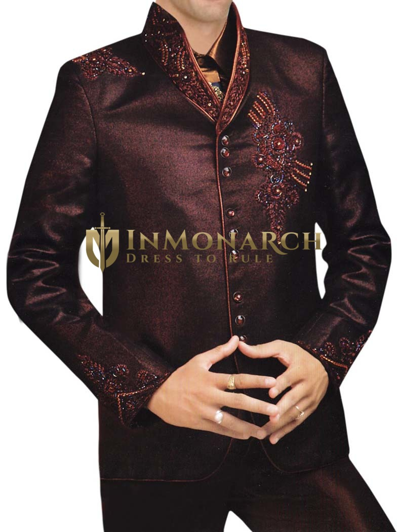 Mens Brown 5 pc Tuxedo Suit Designer High Neck