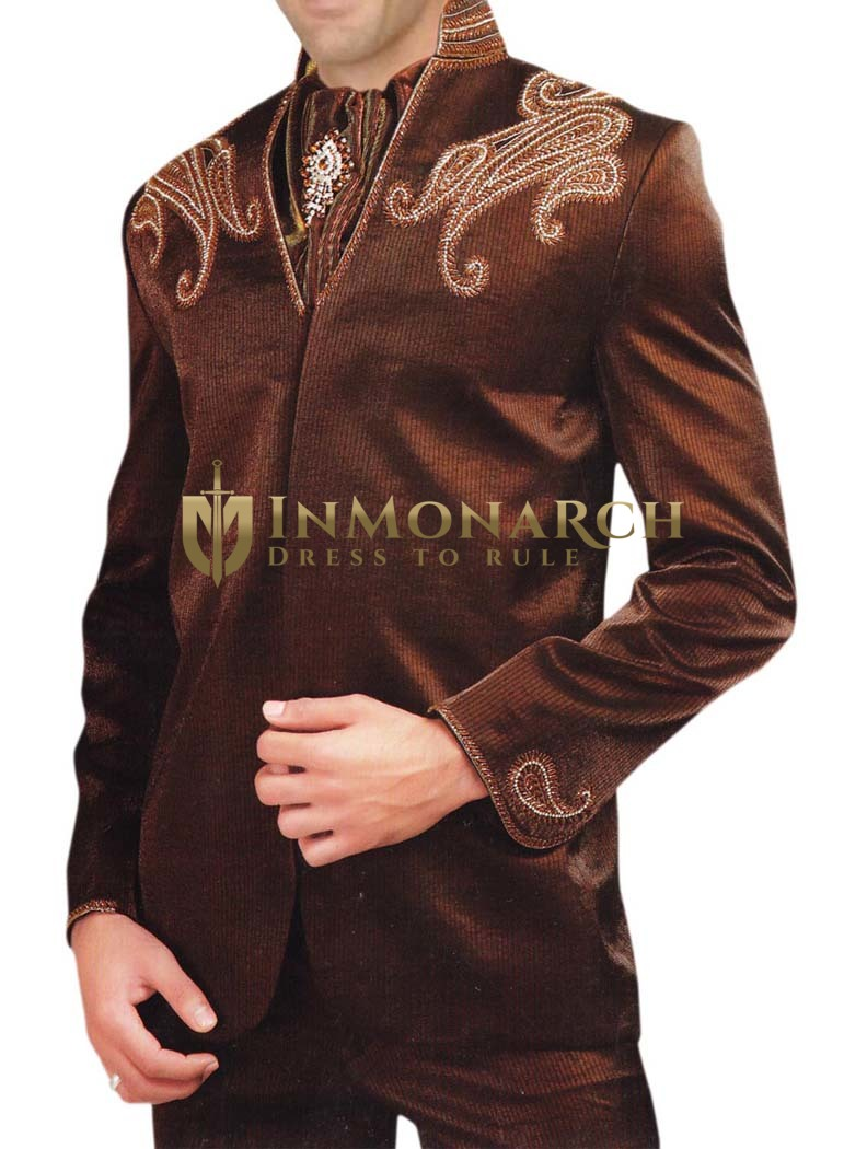 Mens Brown 4 pc Tuxedo Suit Embroidered Wedding