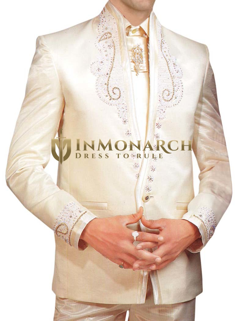 Mens Ivory  5 Pc Tuxedo Suit Wedding Formal Wear