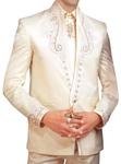 Mens Ivory  5 Pc Tuxedo Suit Wedding Formal Wear