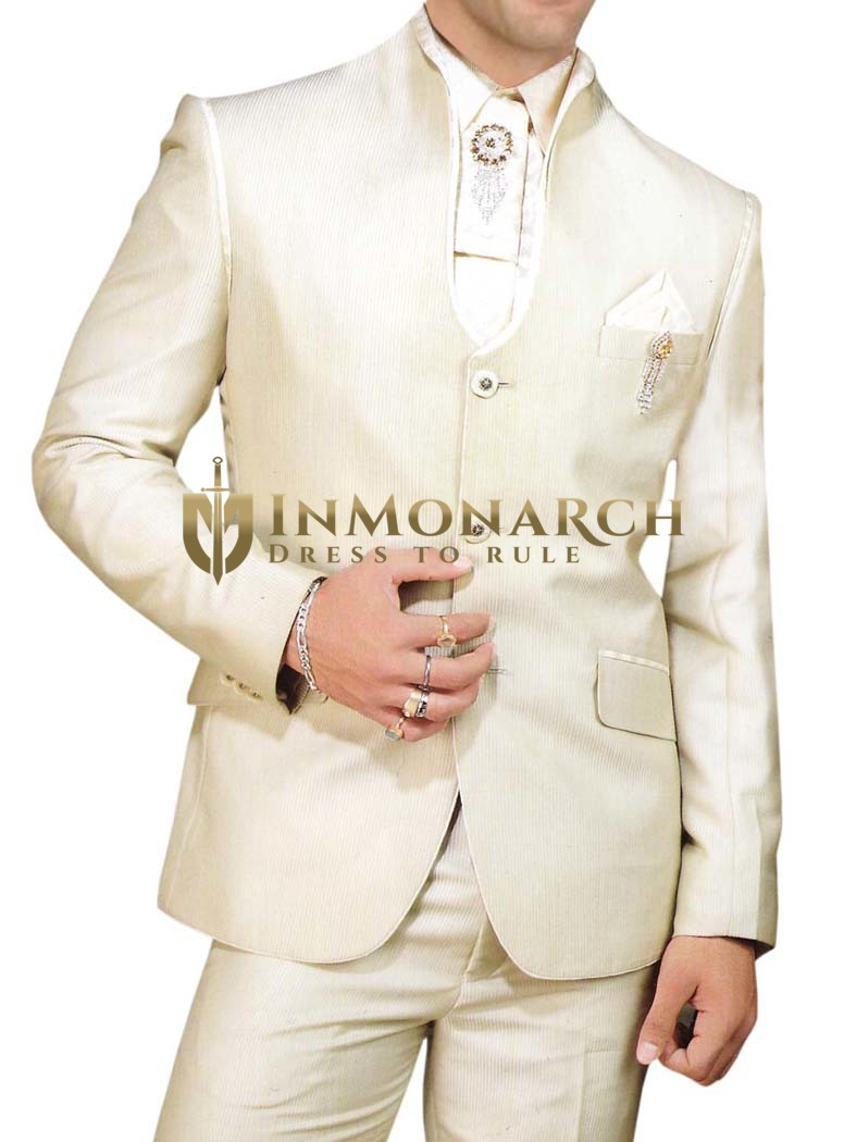 Mens Ivory 7 Pc Tuxedo Suit Royal Look Party Wear