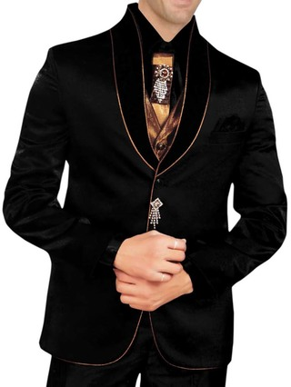 Mens Black 8 pc Tuxedo Suit Designer Formal Wear
