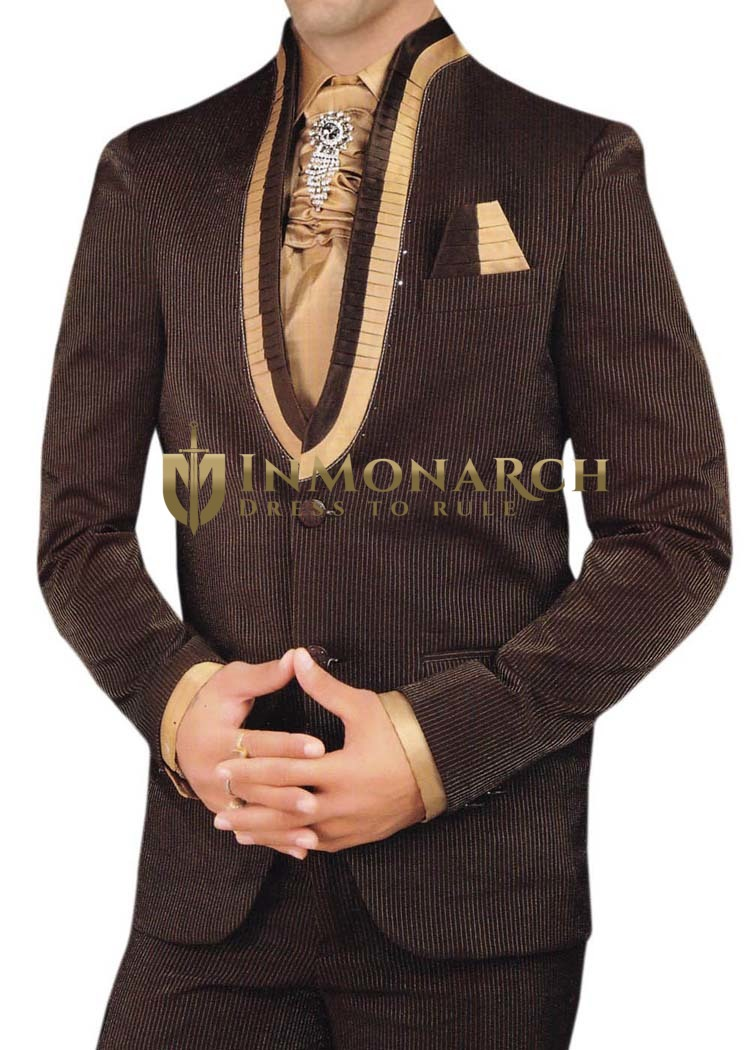 Mens Dark Brown 6 pc Tuxedo Suit Royal Look Party wear
