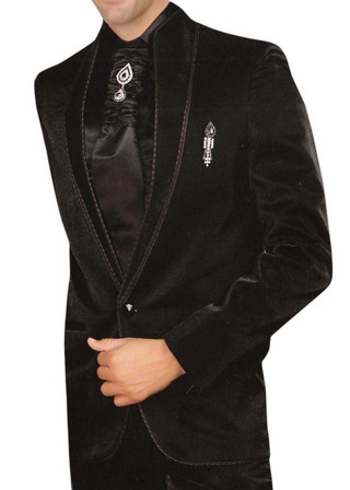 Mens Black 6 pc Tuxedo Suit Wedding Party Wear
