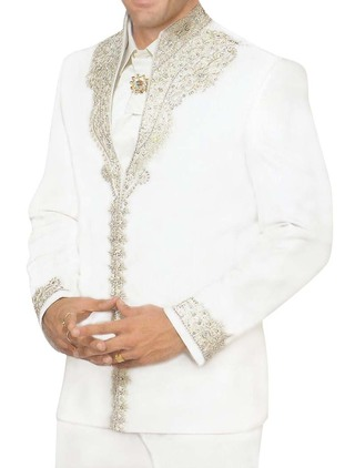 Mens White 5 Pc Tuxedo Suit Royal Look Designer