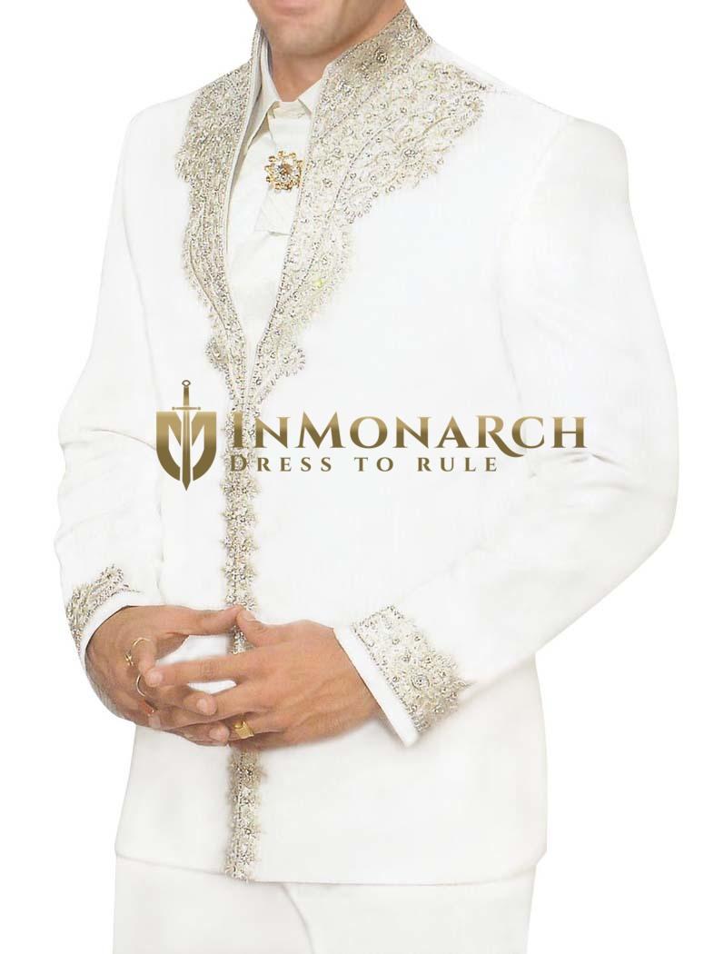 Mens White 5 Pc Tuxedo Suit Royal Look Designer