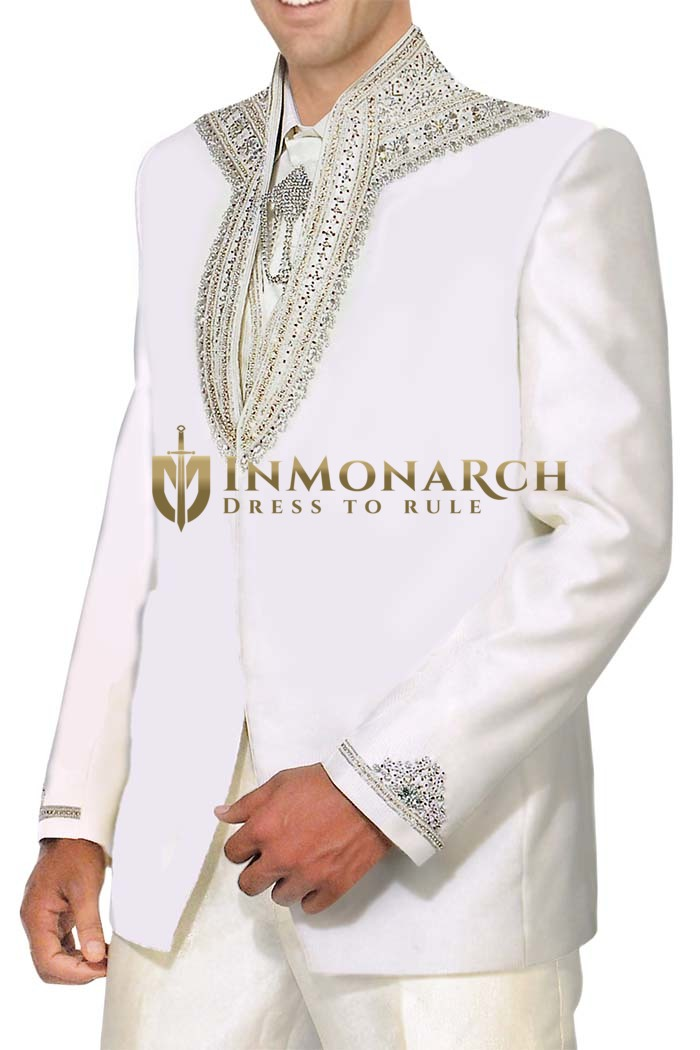 Mens White 5 Pc Tuxedo Suit Designer Engagement