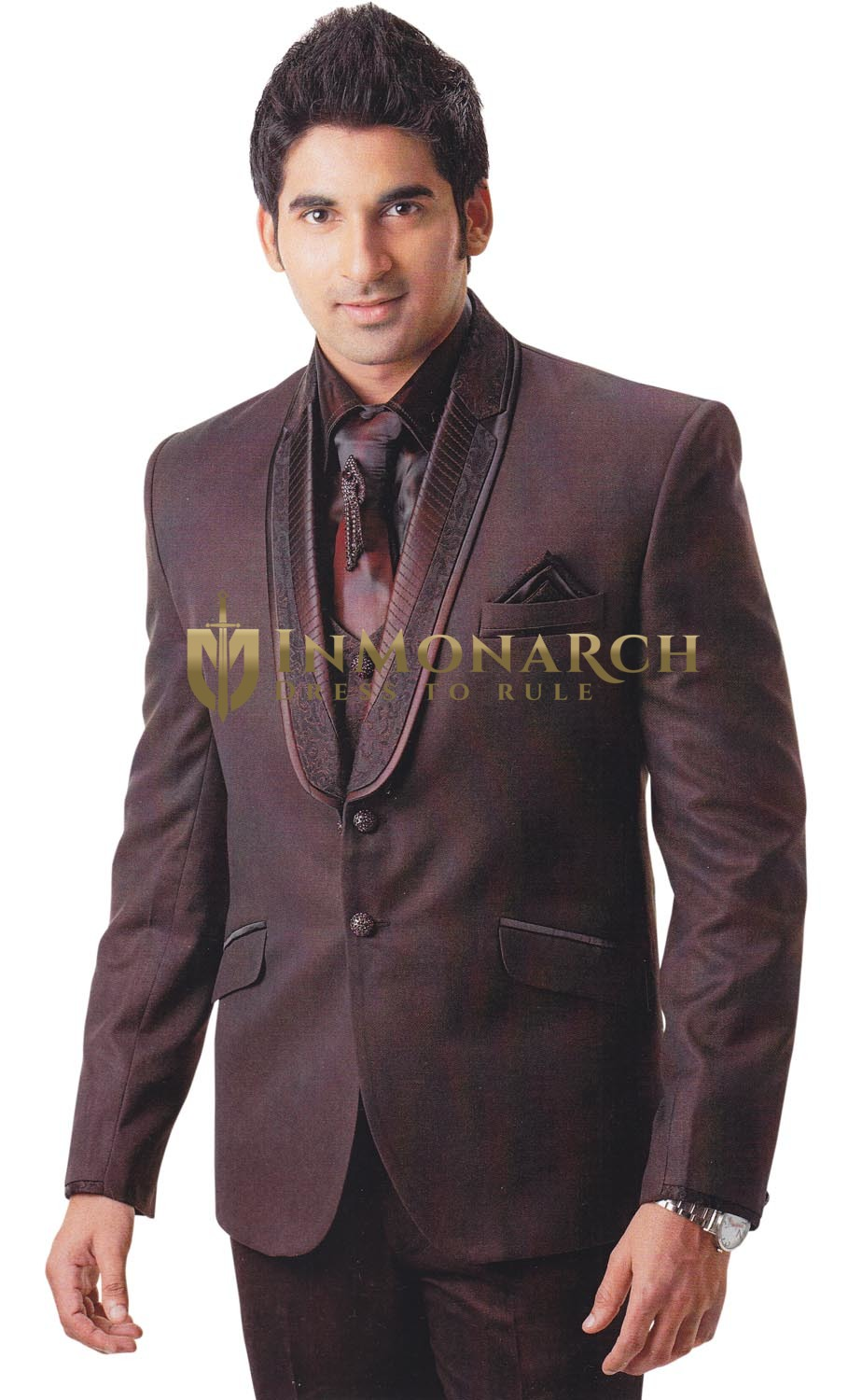Mens Brown Tuxedo Suit Handsome 7 pc