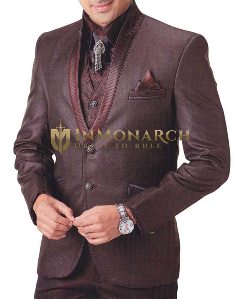 Mens Brown 7 pc Tuxedo Suit Engagement
