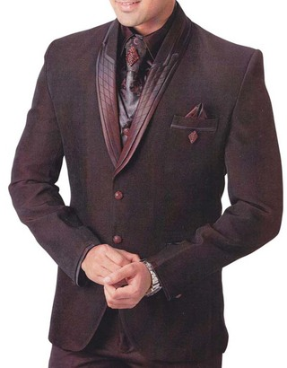 Mens Dark Brown 8 Pc Tuxedo Suit Stylish