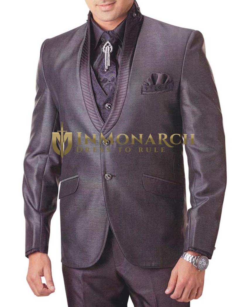Mens Slate Gray 7 pc Tuxedo Suit Modern Look
