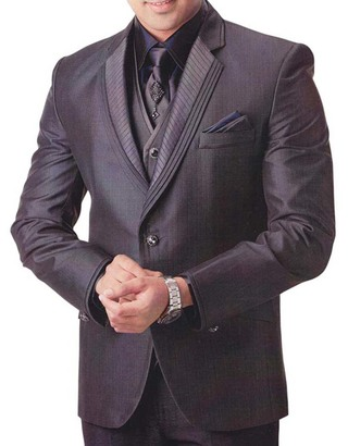 Mens Dark Brown 7 Pc Tuxedo Suit Notch Lapel