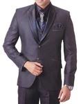 Mens Purple Wine 7 Pc Tuxedo Suit Peak Lapel