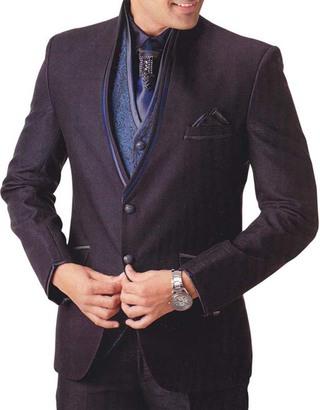 Mens Black Tuxedo Suit Decent Polyester 7 pc