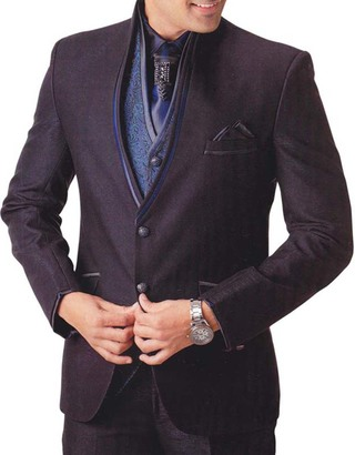 Mens Wine Color Polyester 7 pc Tuxedo Suit