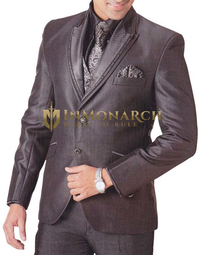 Mens Brown Tuxedo Suit 7 pc Peak Lapel