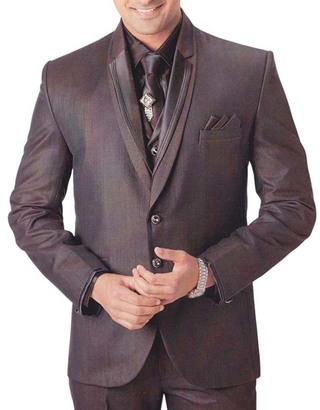 Mens Brown Tuxedo Suit Eye Catching Groom 7 pc