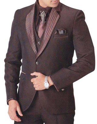 Mens Brown Tuxedo Suit 7 pc Threading Collar