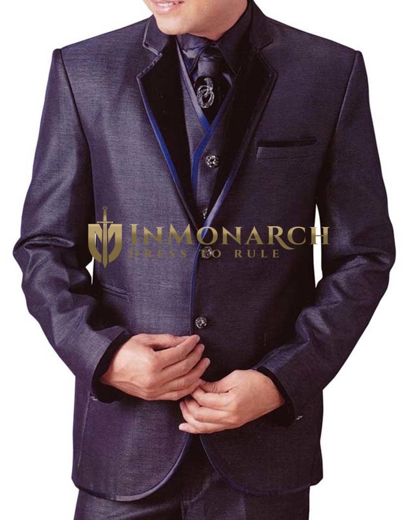 Mens Grape Tuxedo Suit 6 pc Notch Collar