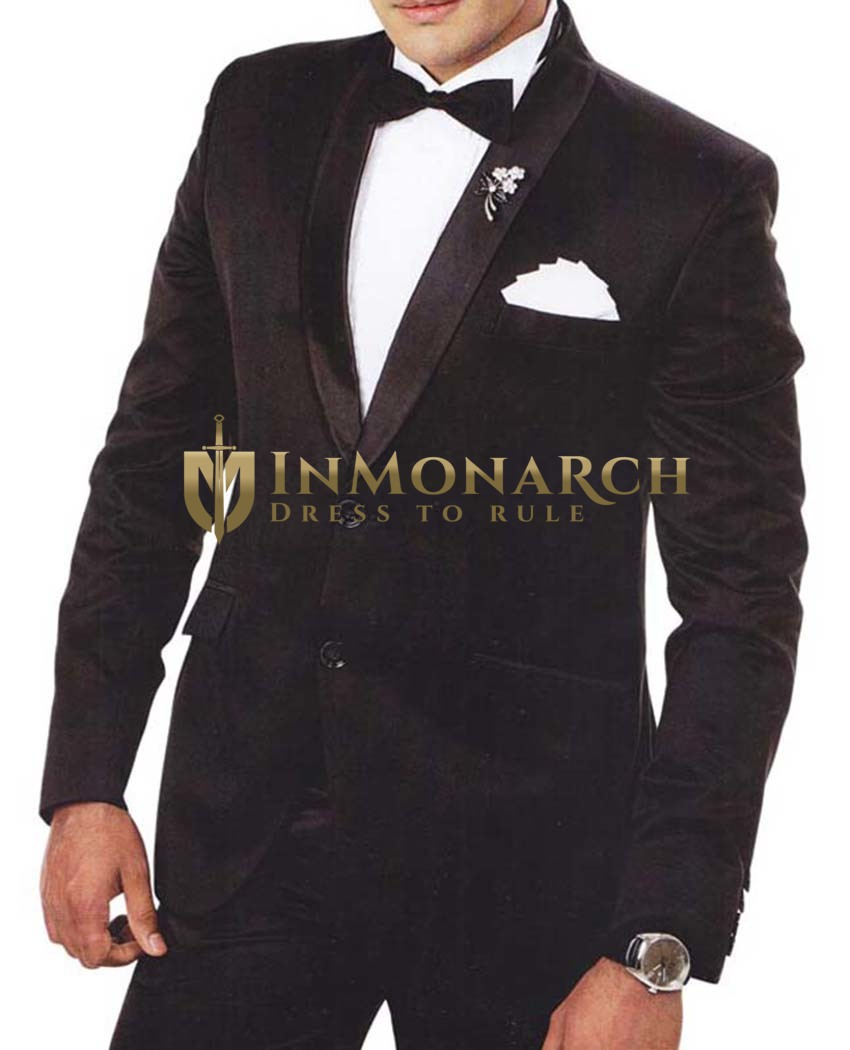 Mens Black Tuxedo Suit 6 pc Shawl Lapel