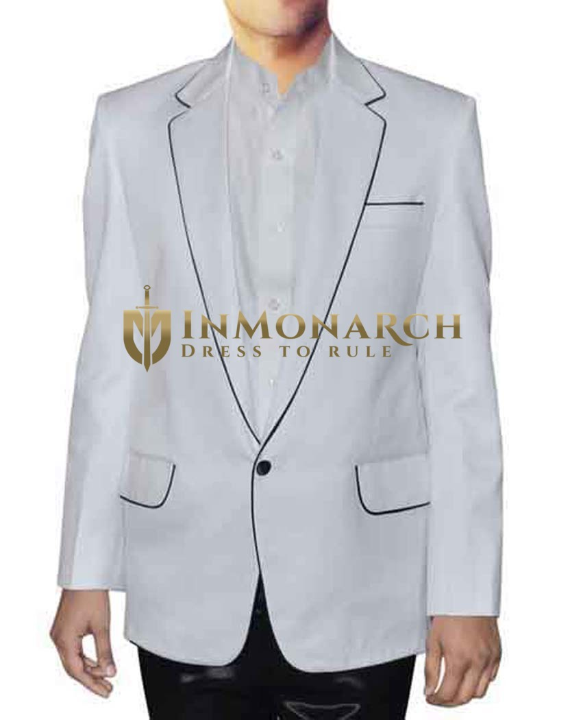 Mens White Tuxedo Suit One Button Black Piping