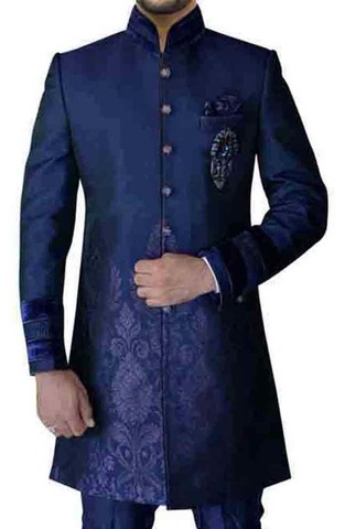 Mens Slate Blue 4 Pc Indowestern Designer