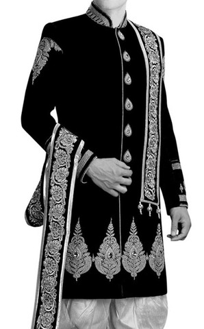 Mens kurta for jeans Black Wedding Sherwani Silver Embroidered