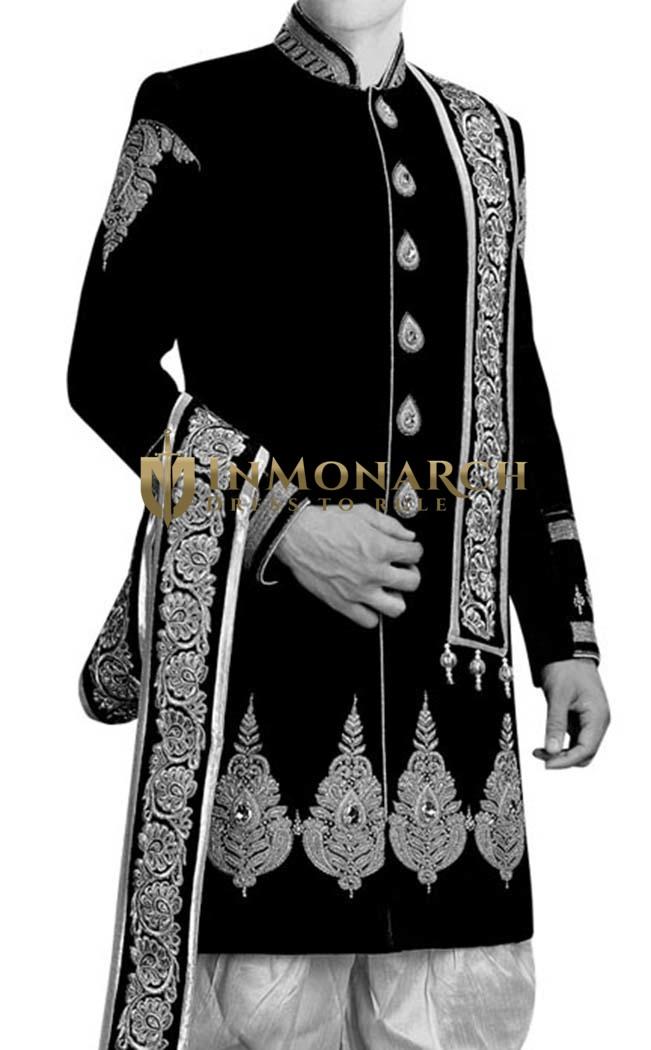 Mens Black 3 Pc Wedding Sherwani Silver Embroidered