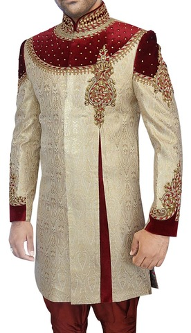 Mens Kurta for Jeans Golden Indo Western Designer Work Indian Wedding