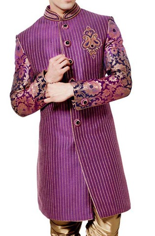Mens Purple Indo Western Attractive Bandhgala