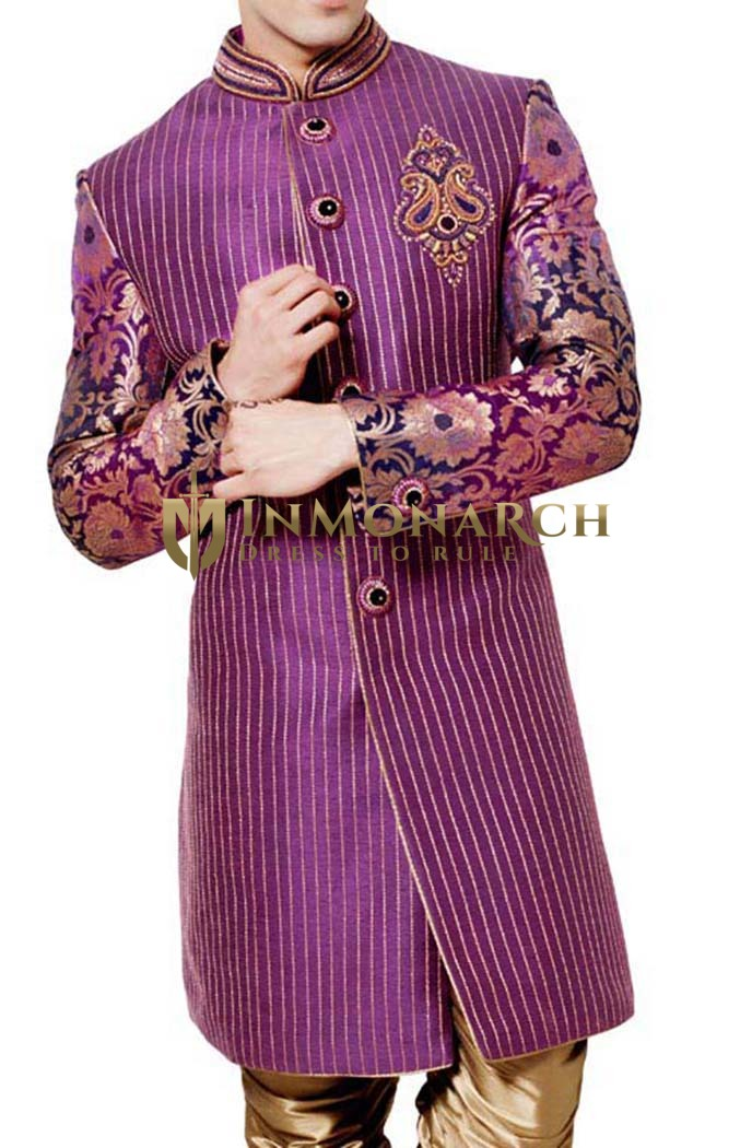 Indian Sherwani for Men Purple Indo Western Bandhgala Designer