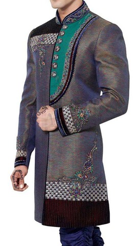Mens Gray Sherwani Indo Western Stylish Party Wear Indian Wedding for Men