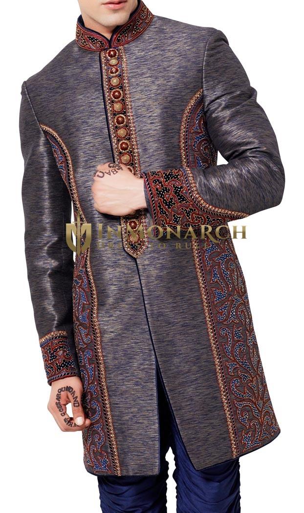 Mens Dark Brown 2 Pc Indo Western Designer