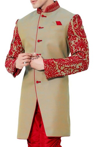 Sherwani Kurta Beige Indo Western Patch Work Indian Sherwani for Men