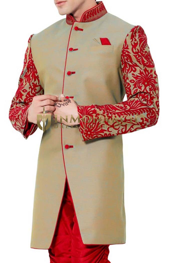 Mens Beige 3 Pc Indo Western Patch Work
