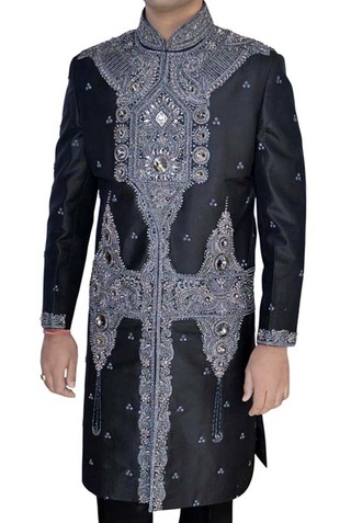 Mens Black Pure Silk Sherwani