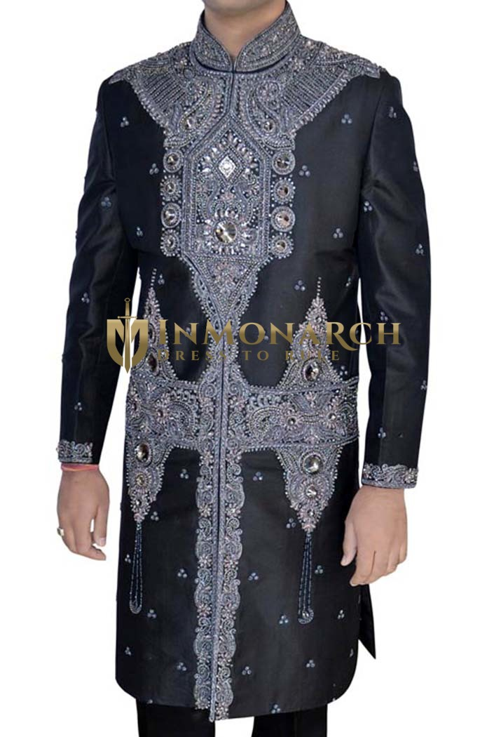 Mens Indo Western Outfit Black Pure Silk Sherwani Heavy Work
