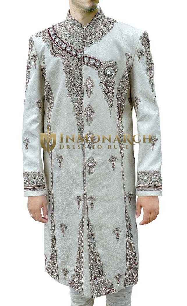 Mens Sherwani For Men Cream Royal Designer Indian Suit Sherwani
