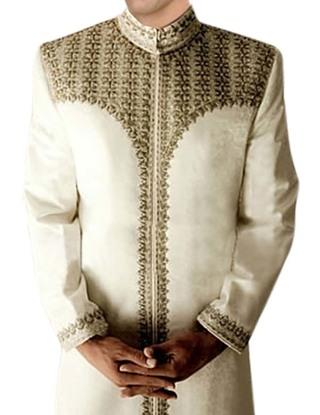 Mens Traditional Embroidered Cream Brocade Sherwani