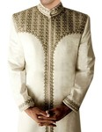 Mens Indian Sherwani Cream Sherwani Western Attire Embroidered