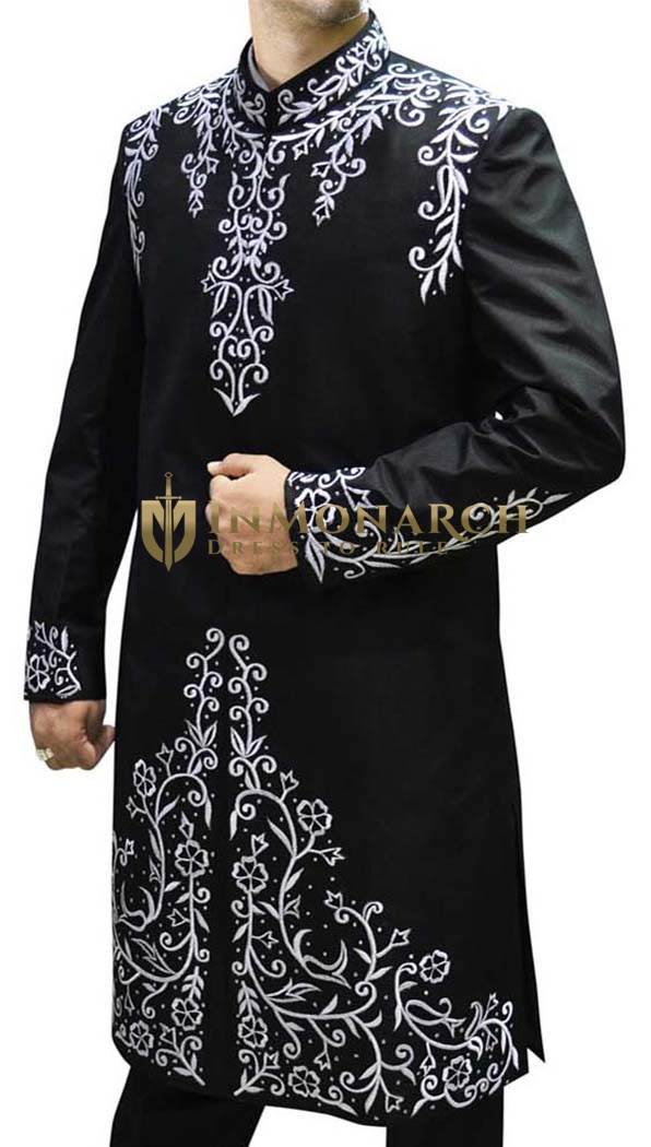 Men Sherwani Black Pure Silk Sherwani Thread Embroidered