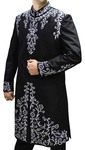 Mens Black Pure Silk 2 Pc Sherwani Thread Embroidered