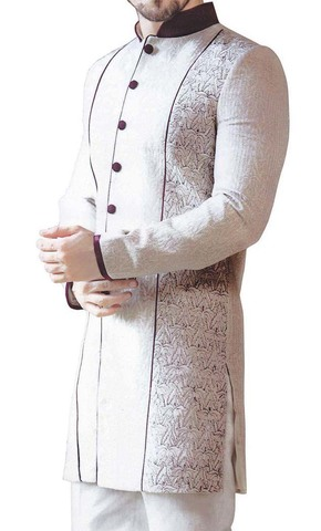 Mens Sherwani Off white Indo Western Purple Piping Indian Wedding for Men