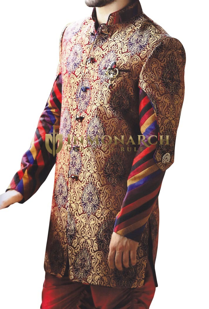 Indian Wedding Clothes for Men Golden Indo Western Sherwani EngageMent