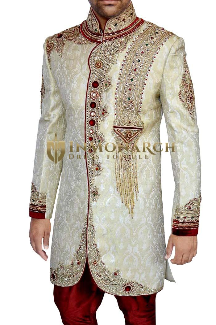 Wedding Sherwani Beige Indo Western Suit Wedding Sherwani for Men