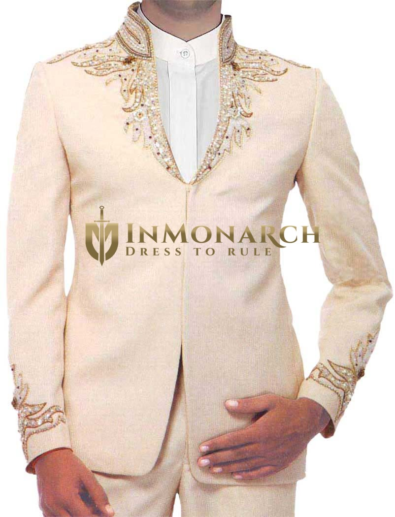 Mens Peach Designer Jodhpuri suit Astonishing 3 Pc