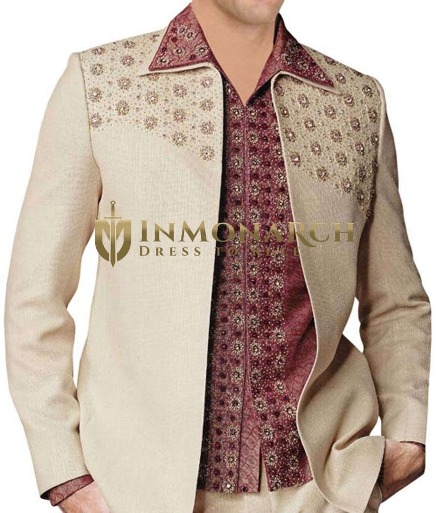 Mens Ivory 3 Pc Partywear Suit Embroidered