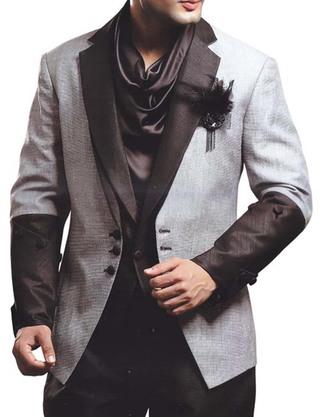 Mens Gray Partywear Suit Royal Look 5 pc