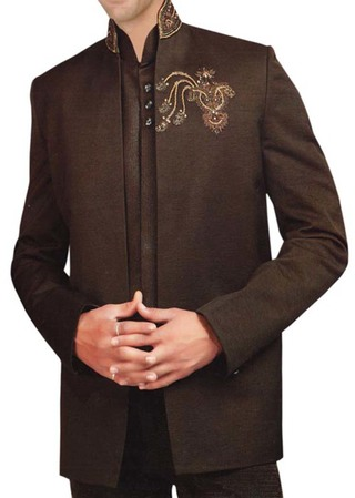 Mens Brown 3 Pc Partywear Suit Traditional Look