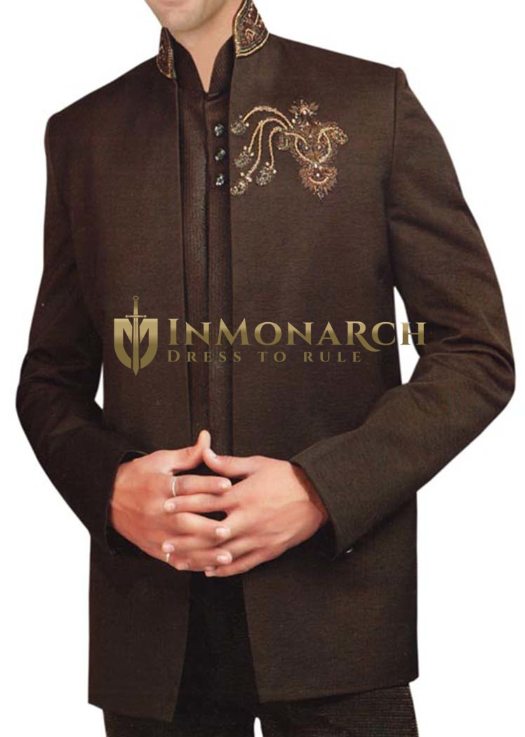 Mens Brown Partywear Suit Traditional Look 3 pc